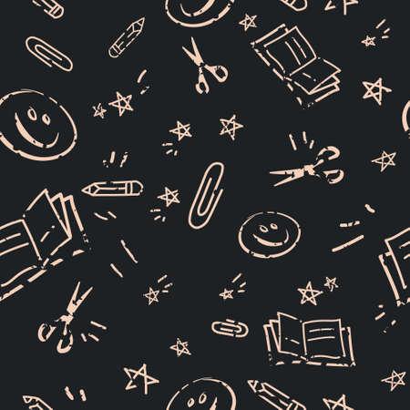 Back to School Chalk Blackboard Doodles Pattern Illustration