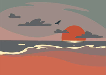 Beautiful Purple Morning Beach Sunrise with Bird Ilustração