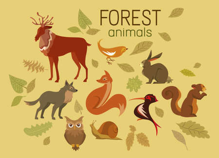 Cute Forest Animals and Autumn Leaves Collection Vettoriali