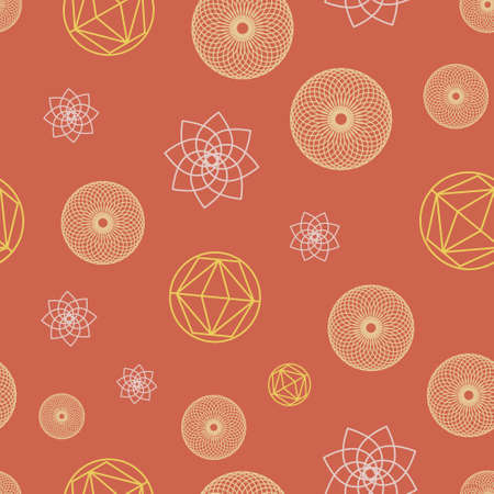 Cute Pink Geometric Abstract Symbols Seamless Pattern