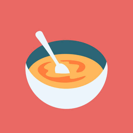 Delicious Gourmet Soup Bowl Colorful Vector Illustration