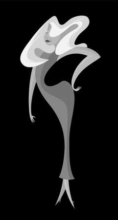 Film Noir Glamourous Woman Star Vector Character
