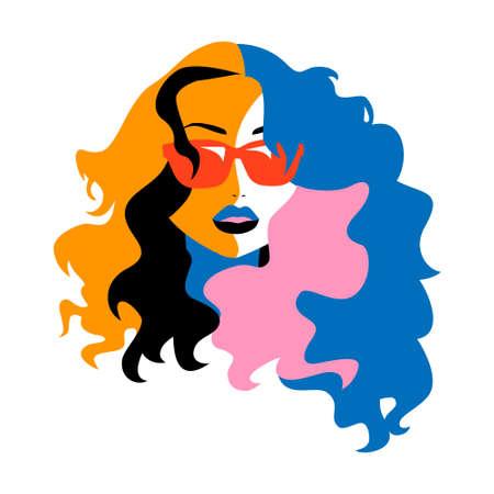 Fun Pop Art Icon Girl Vector Illustration Illusztráció