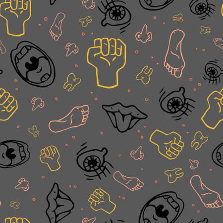 Grey Expressive Body Parts Seamless Vector Pattern