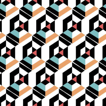 Dynamic Hexagon Abstract Geometric Seamless Repeat Pattern Illustration
