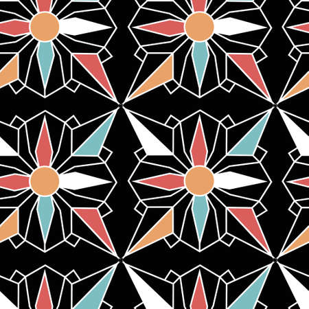 Star Flower Gems Abstract Geometric Repeat Pattern