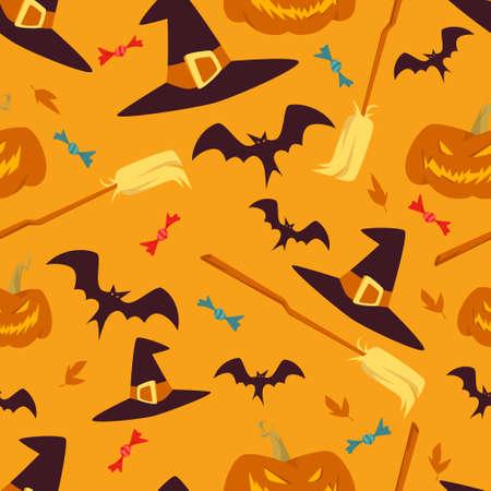 Orange Halloween Cartoon Elements Vector Seamless Pattern Ilustração