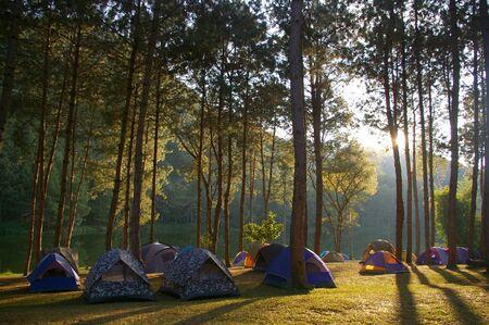 pang: Camping at Pang-Ung, Thailand Stock Photo