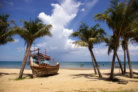 beached: Wreck boat on Ban Krood beach, Thailand