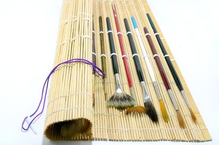 Watercolor borstels met natuurlijke bamboe borstelhouder
