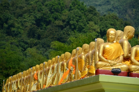 Gouden Boeddhistische heilige beelden op Boeddha Memorial park