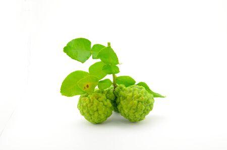 Kaffirkalk met bladeren die met witte achtergrond worden geïsoleerd Stockfoto