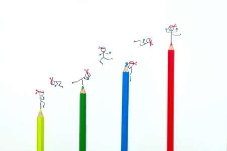 Kleurpotloden groei grafiek met cartoon hand tekenen
