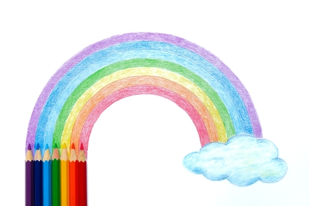 Colored pencils with rainbow and cloud hand drawing Foto de archivo