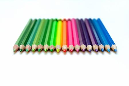 Gekleurde potloden geïsoleerd met whtie achtergrond Stockfoto