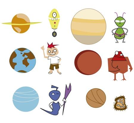 Icons Planets Illustration
