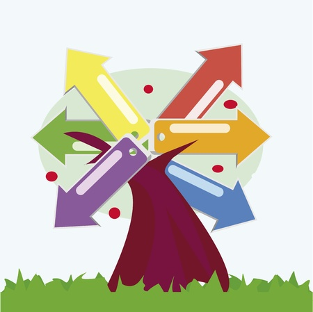 Arbol con flechas de colores