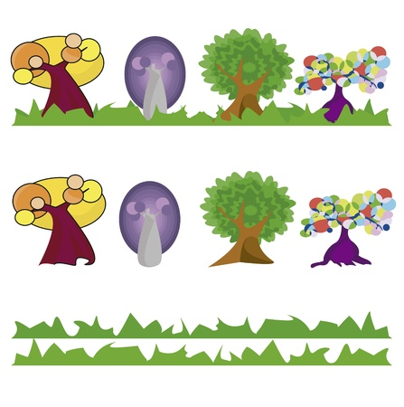 4 tipos de arboles Stock Vector - 13076891