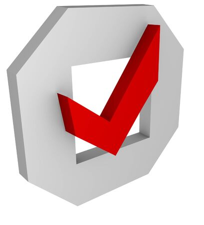 positiv: an 3d checkbox with a red correct sign