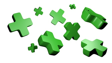 green 3d plus symbols