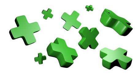 signos matematicos: verde 3D m�s s�mbolos Foto de archivo
