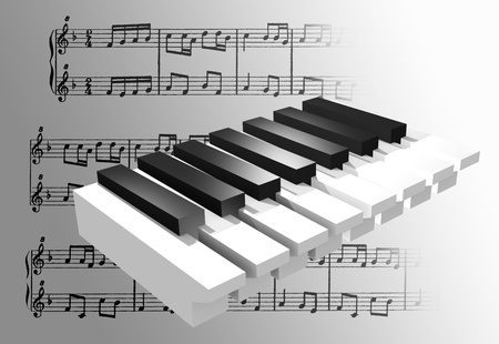 musik: an 3d musik sign with a piano ladder Stock Photo