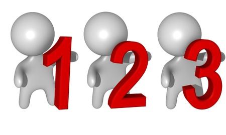 3d 1,2,3 figures Standard-Bild
