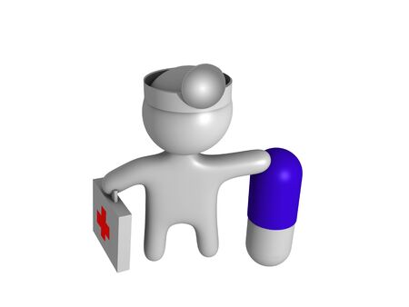 3d doctor with capsul photo