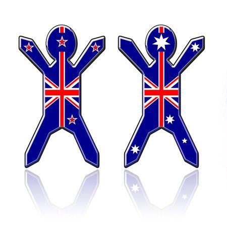 bandera de nueva zelanda: chicos bandera - Nueva Zelanda y Australia Foto de archivo