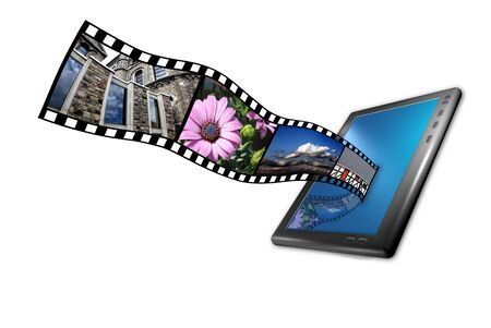 a tablet pc with movie and picture strip in 3d photo