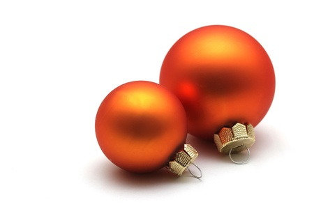some isolated orange christmas spheres