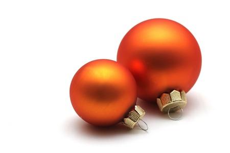 Enkele geïsoleerde oranje kerst bollen Stockfoto - 11856716