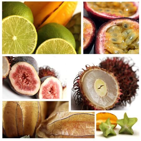 exotic fruits collage photo