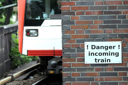 dangerous train sign Stock Photo - 13703497