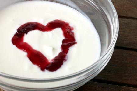 heart shaped fruit yogurt photo