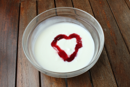 heart shaped fruit yogurt photo