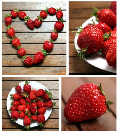 strawberries  collage photo