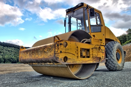 roller compactor: steamroller as hdr picture