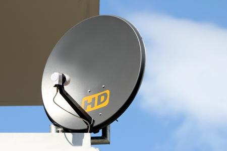 arial views: hd satelite dish Stock Photo