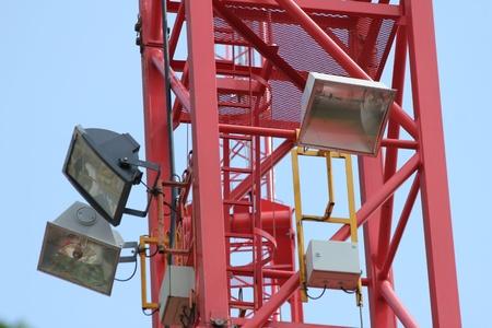 floo: flood lights spots on a crane Stock Photo