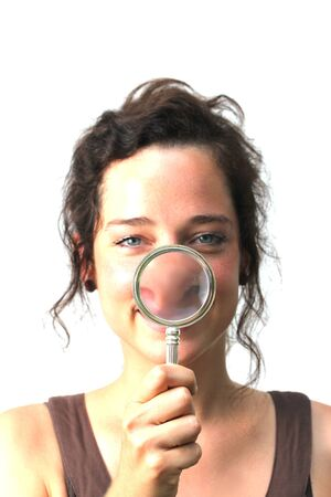 young woman with magnifier Stock Photo - 14618924