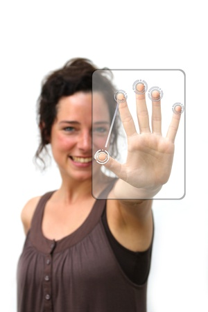 multitouch: young woman making a finger gesture on a digital interface
