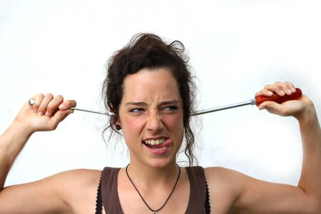 funny young woman with tools Stock Photo - 14649558