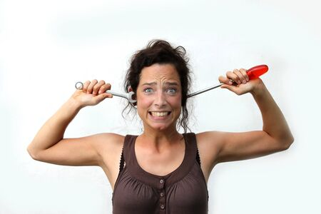 funny young woman with tools Stock Photo - 14649555