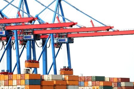 geïsoleerde platte containerhaven Stockfoto