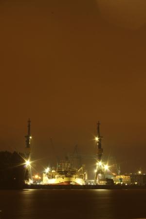 hamburg harbour at night photo