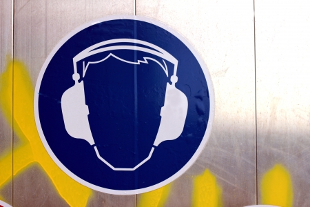 ear muffs: wear ear protection sign Stock Photo