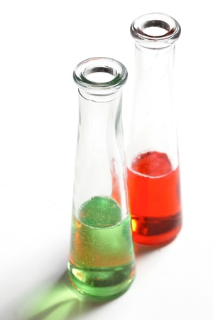 reagents: some liquids in some test tubes Stock Photo