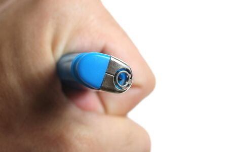 blue lighter in human hand Stock Photo - 15062708