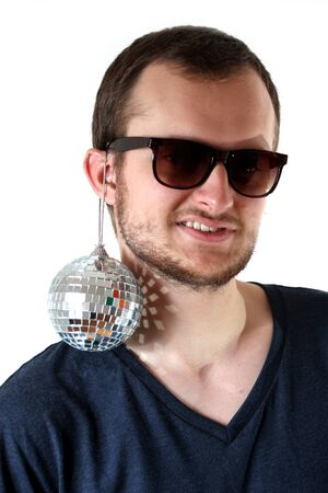 funny guy with little mirror ball photo